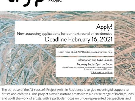 APPLY to Ali Youssefi Project Artist in Residency In Sacramento -Deadline 2/16/2021!