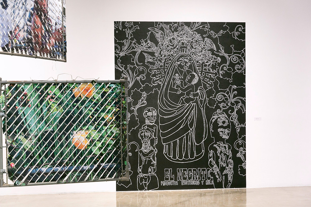 Exhibition view East Gallery, Claremont Graduate University, Unititled, 2016 Marton Robinson Chalkboard paint and chalk on wall.