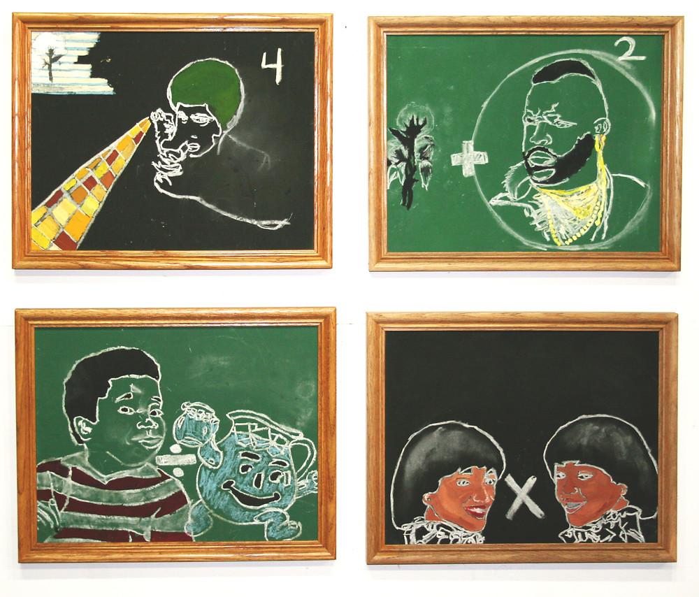Chalkboard drawings, installation view, chalk and gouache on chalkboard, wood frame, 2007
