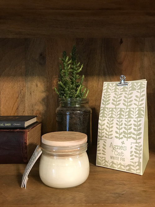 Agnes & Cat Hand Poured Soy Kilner Candle -White Fig