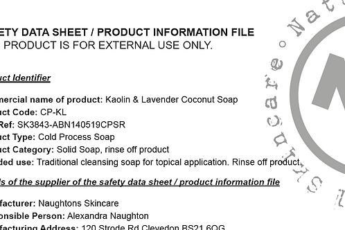 Saftey Data Sheets - Coconut Soap Group 1