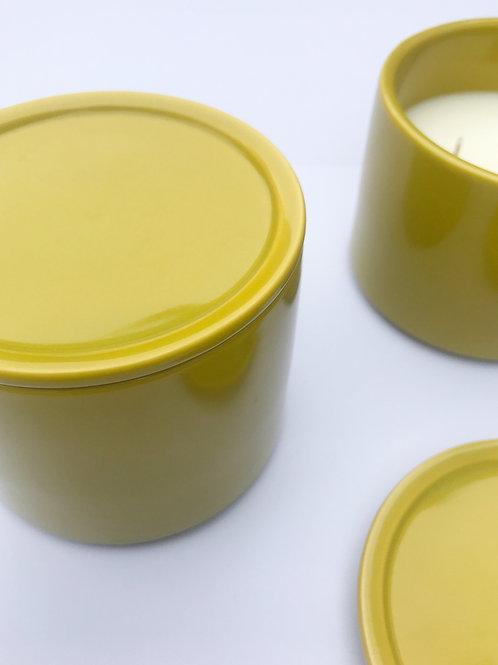 Large 3 Wick Ceramic Candle - Olive Yellow / Lime, Basil & Mandarin