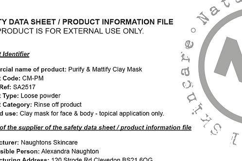 Safety Data Sheets - Clay Masks