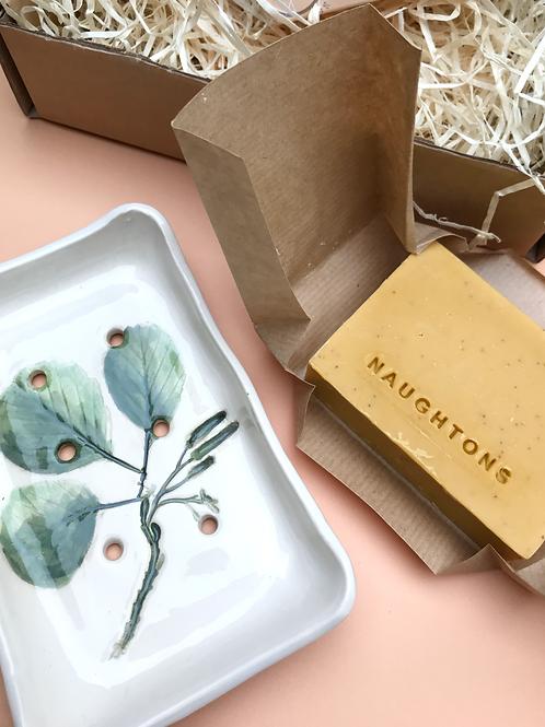 Handmade Ceramic Soap Dish Gift Set - Citrus