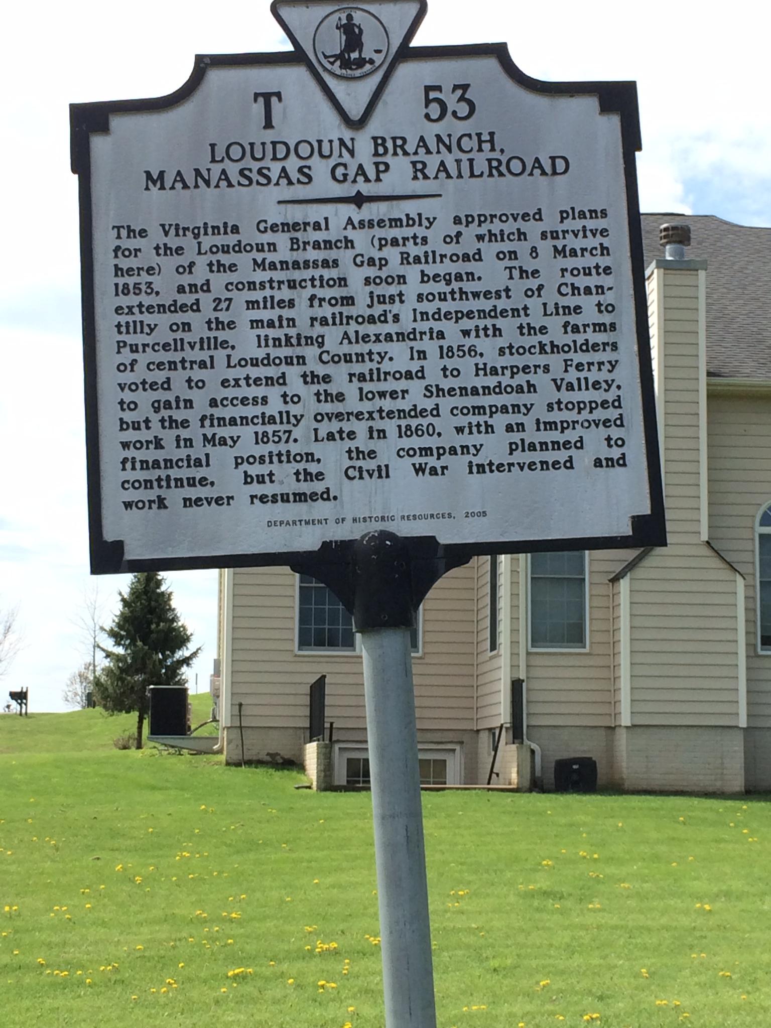 Manassas Gap RR Historical Marker