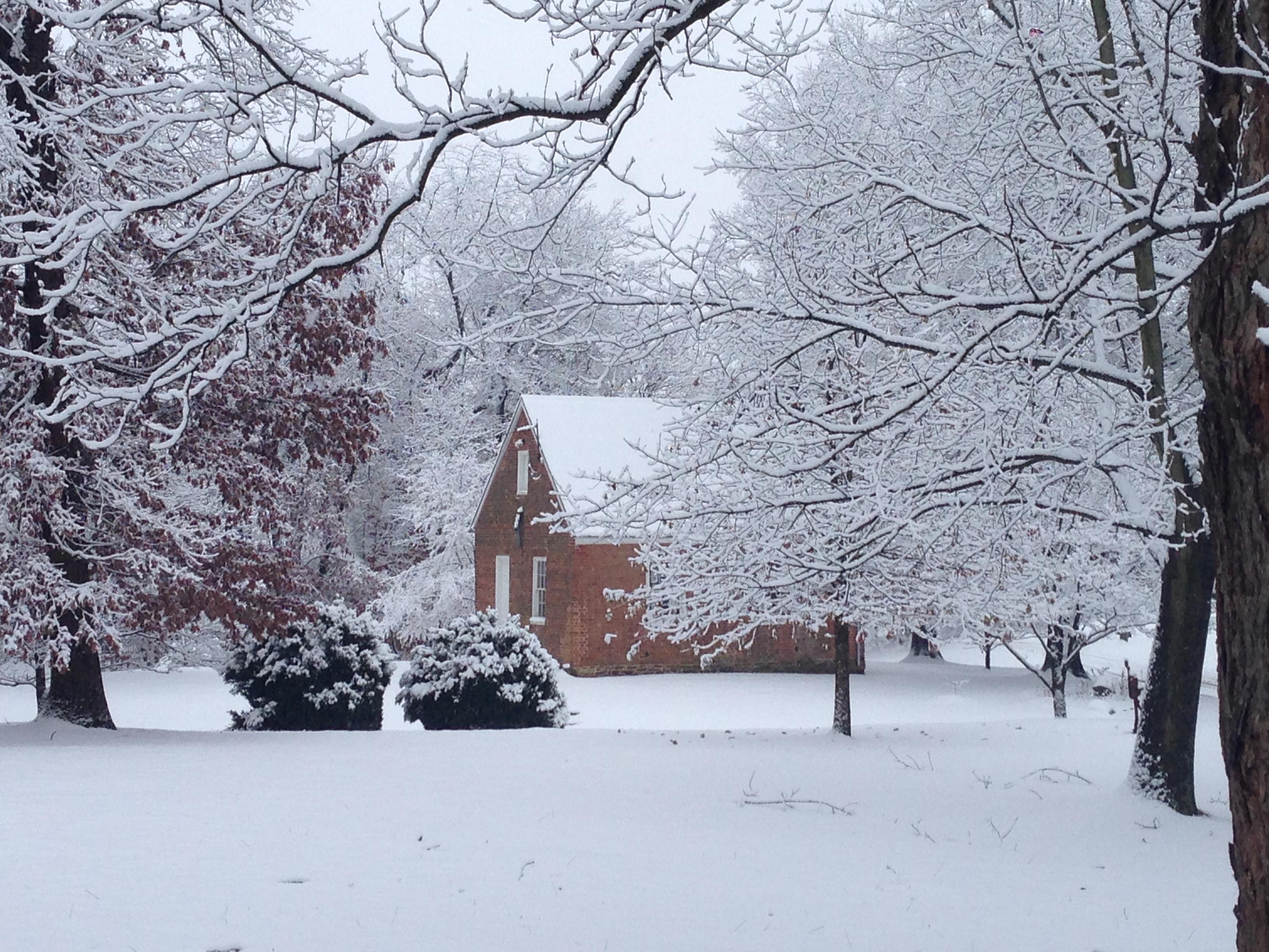 Oakdale Schoolhouse in snow