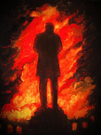 Bronze Figure Burns: Museum Fire