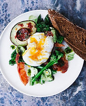 a plate of eggs, avocado and toast