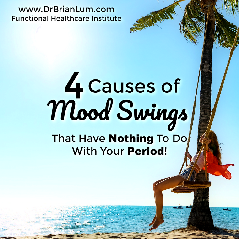 woman on a swing on a beach.  text overlay that says 3 causes of mood swings that have nothing to do with your period