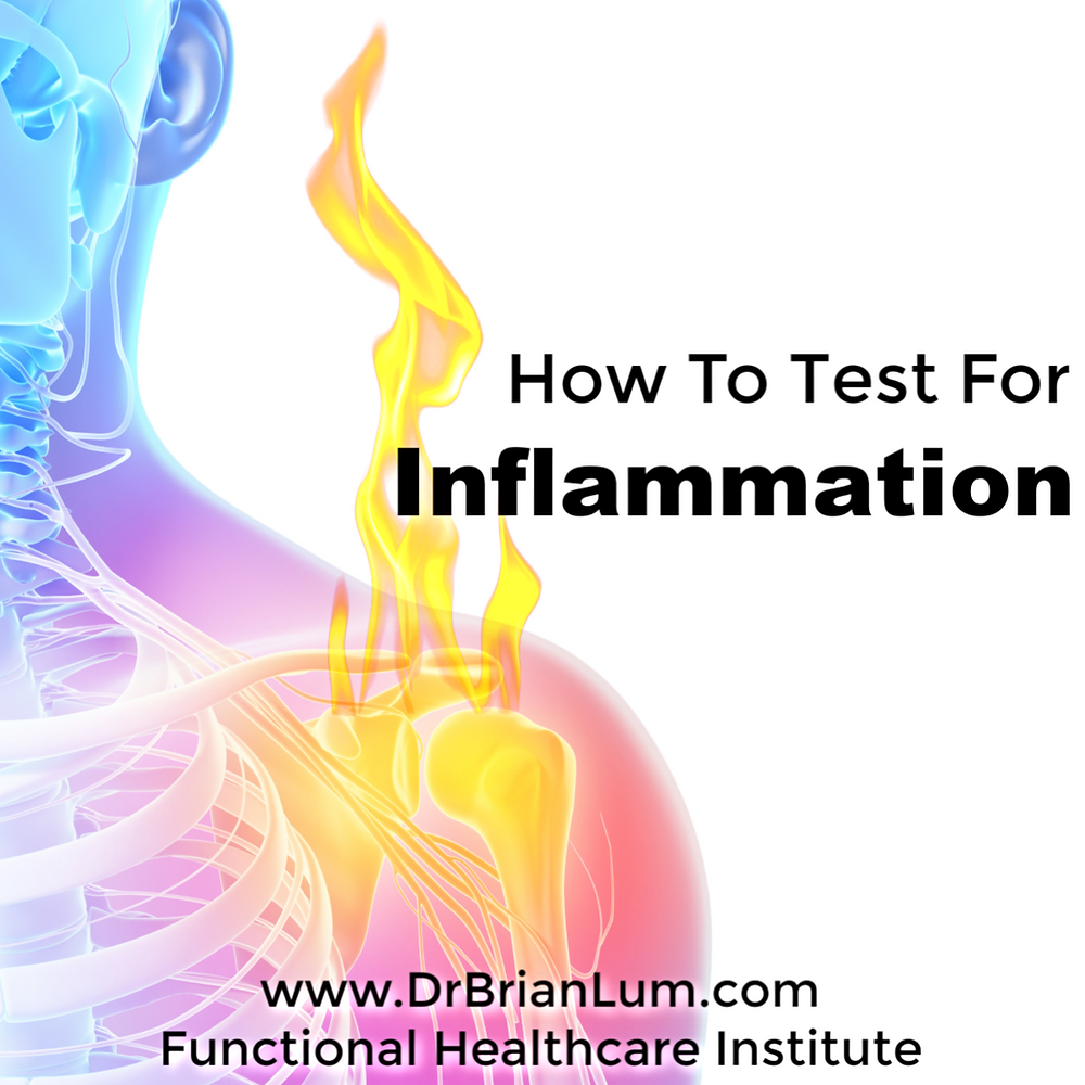 A 3d image of the body with a flame coming out of inflamed shoulder. Text overlay that says how to test for inflammation.