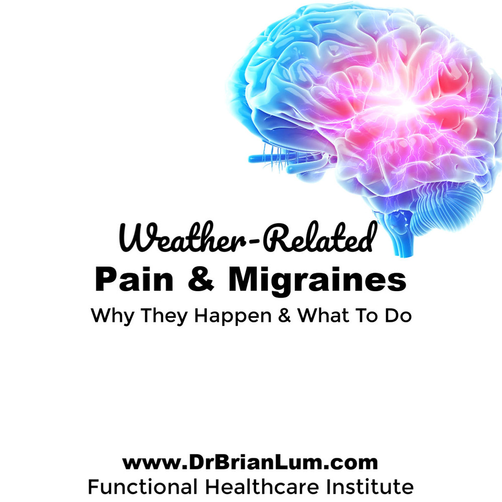 a multicolored brain with indications of pain. text overlay that says weather related pain and migraines why they happen and what to do www.drbrianlum.com functional healthcare institute