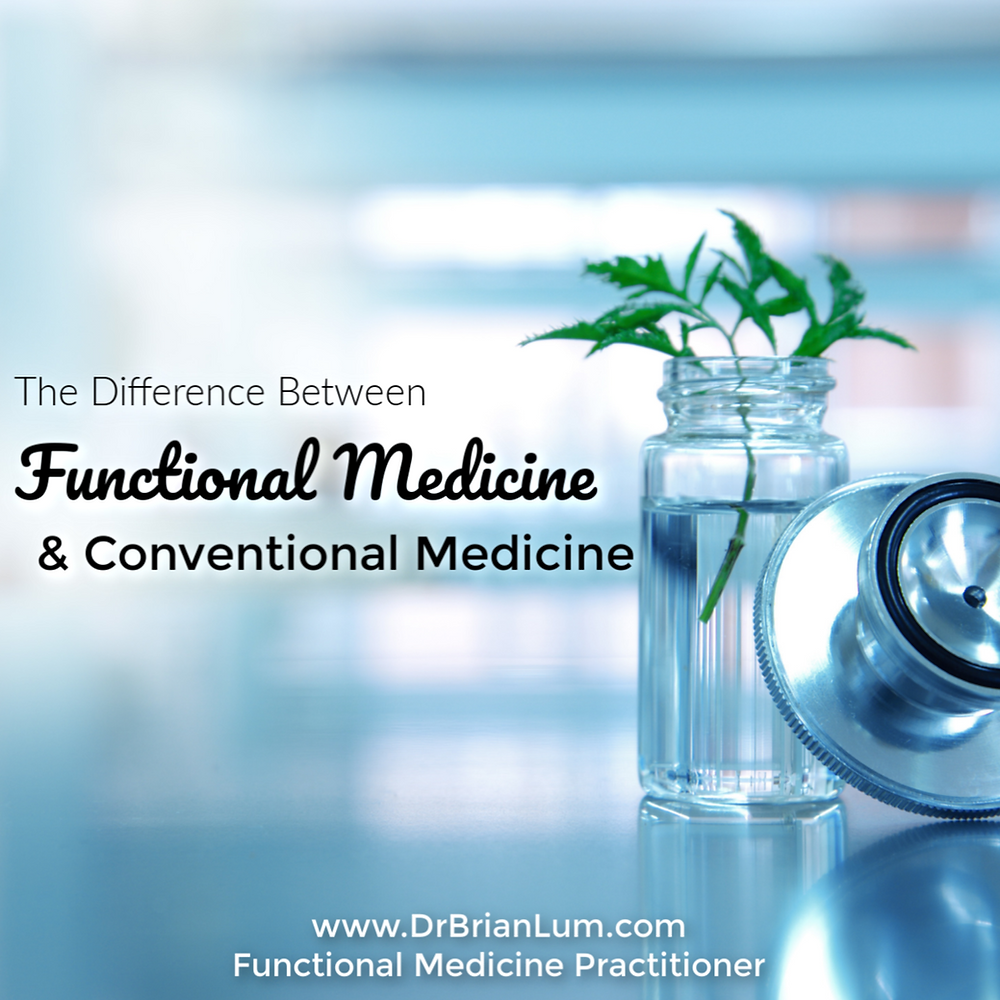 a stethoscope with a little green sprout. text overlay saying the difference between functional medicine and conventional medicine