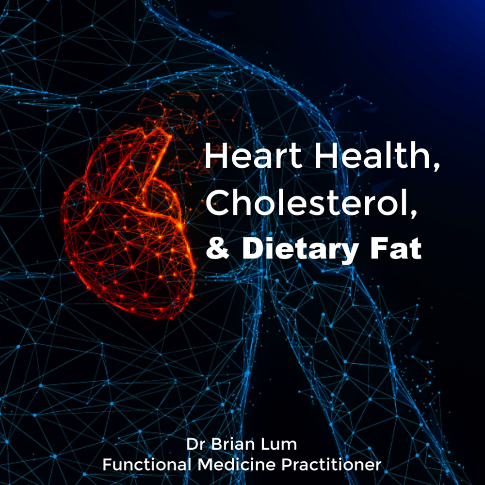 an artists rendering of human anatomy. text overlay says heart health, cholesterol and dietary fat