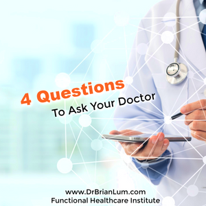 a doctor holding an ipad. text overlay saying 4 Questions to ask your doctor.