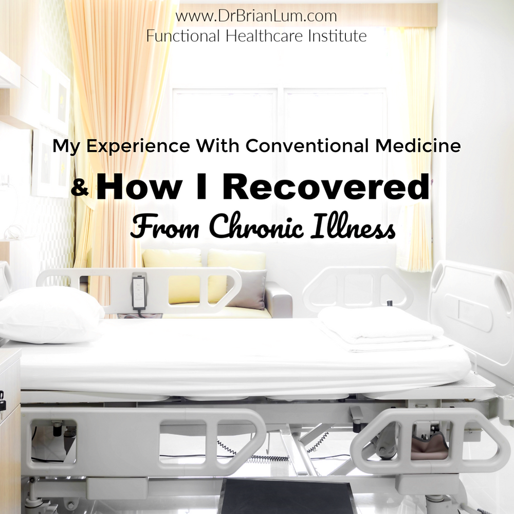 An empty hospital bed. Text overlay that says my experience with conventional medicine and how I recovered from chronic illness