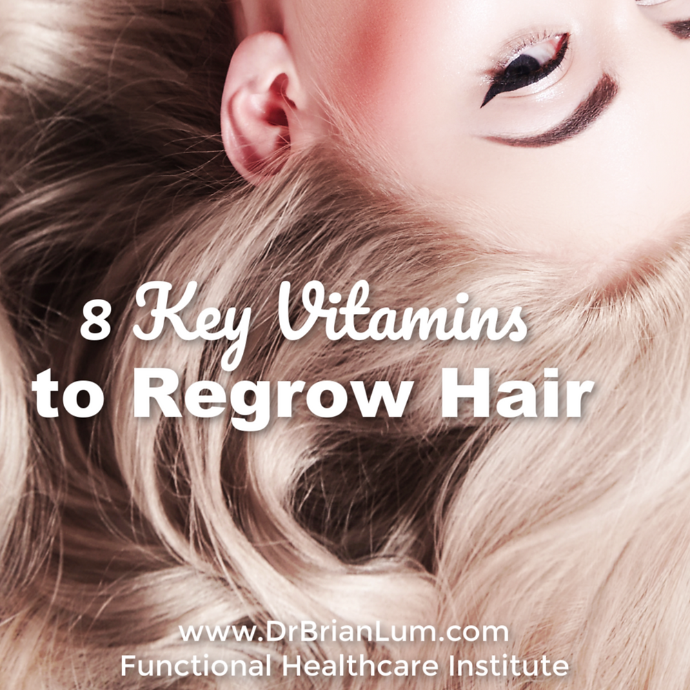 A woman with long blonde hair. Text overlay that says 8 key vitamins to regrow hair