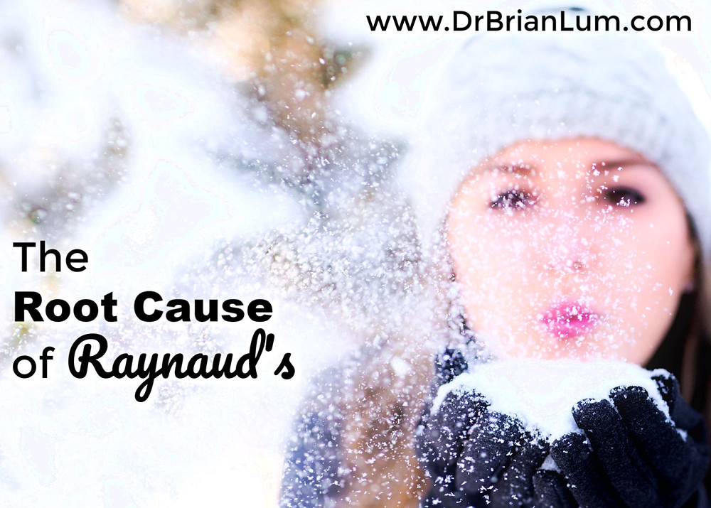 a girl with a handful of snow. text overlay that says the root cause of Raynaud's