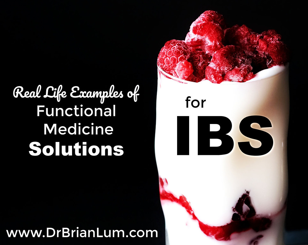 a dairy smoothie. text overlay saying Functional medicine solutions for IBS