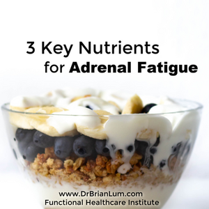 a bowl of granola. text overlay that says 3 key nutrients for adrenal fatigue