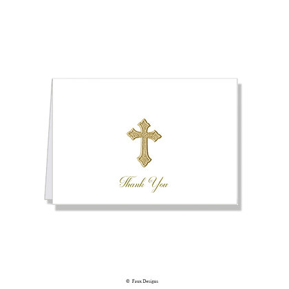 Thank You - Gold Cross on White
