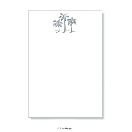 Three Silver Palm Trees on White Invitation - Blank
