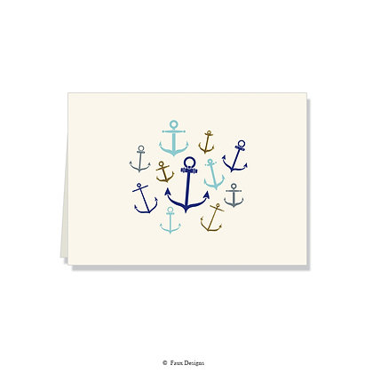 Whimsical Anchors Folded Note