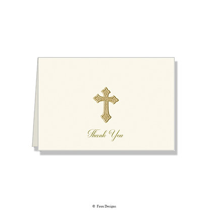 Thank You - Gold Cross on Ivory