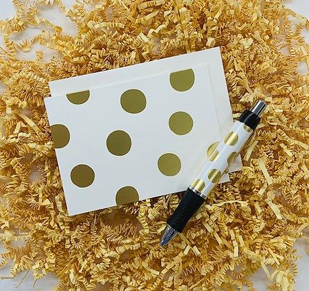 Felicity Ivory, Gold Folded Note & Pen Set