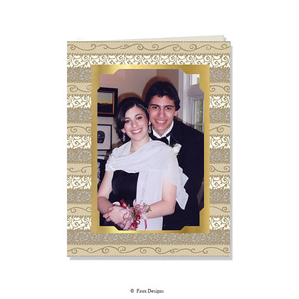 Tapestry Gold, Silver Photo Card - Greeted ONLY