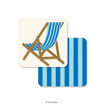 Beach Chair Blue Coaster