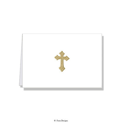 Cross Gold on White Folded Note