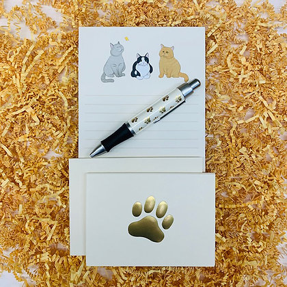 Cats Memo Pad & Folded Note Set