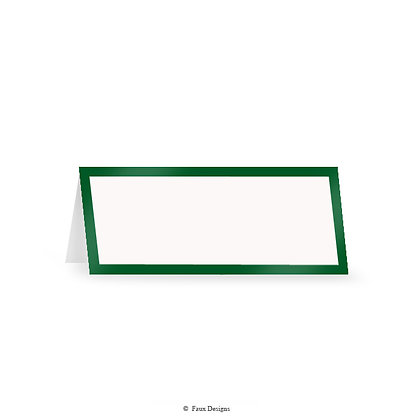 Classic Borders Green on White Placecard