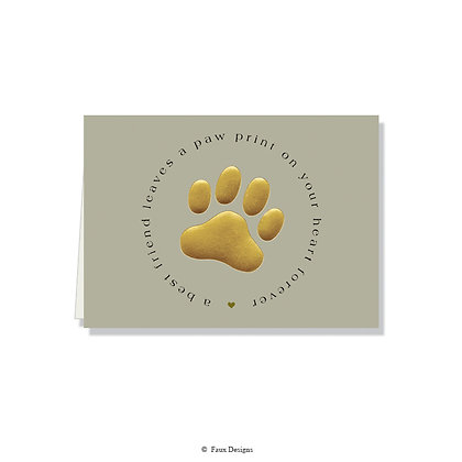 Pawprint on Your Heart - Paw Print Gold on Grey