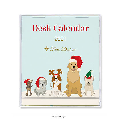 2021 Desk Calendar Holiday Dogs