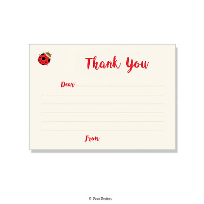 Ladybug Fill-in Thank You Note