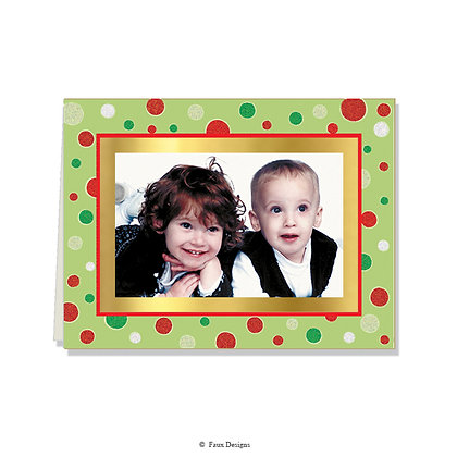 Merry Dots Glitter Photo Card     Blank ONLY