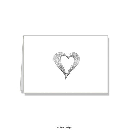 Heart Silver on White Folded Note