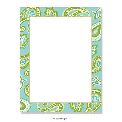 Jasmine Aqua, Lime 8.5 x 11 Sheet