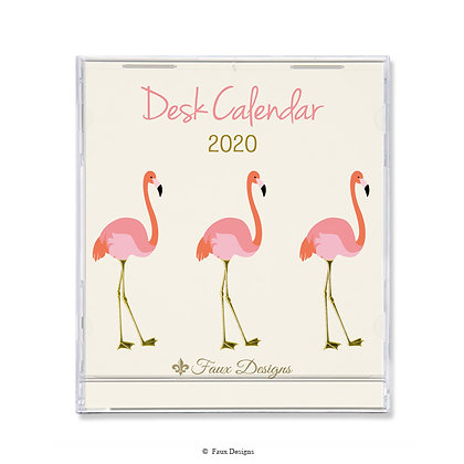2020 Desk Calendar Flamingo