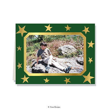 Stars Gold on Green Photo Card