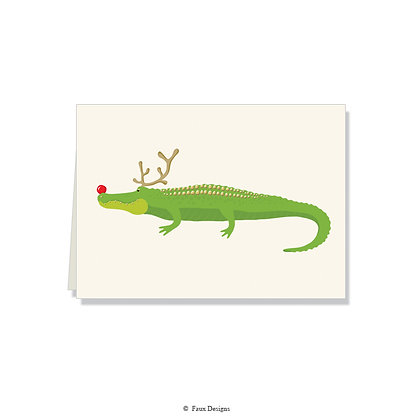 Holiday Gator Folded Note