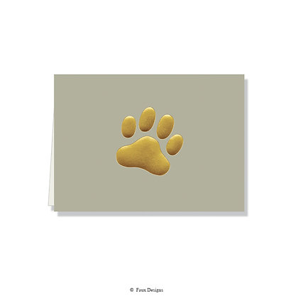 Paw Print Grey Folded Note