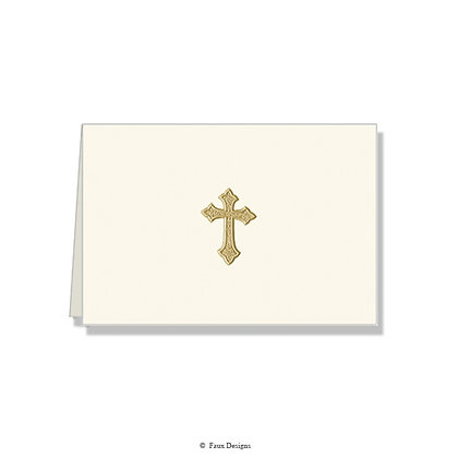 Cross Gold on Ivory Folded Note