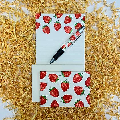 Strawberries Memo Pad & Folded Note Set