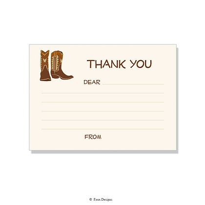 Cowboy Boots Fill-in Thank You Note