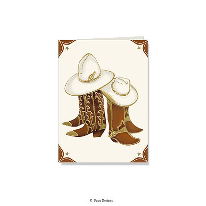 Cowboy Boots Folded Note