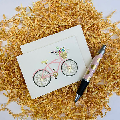 Floral Bicycle Folded Note & Pen Set