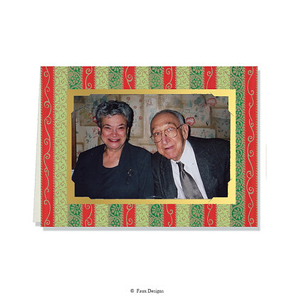 Tapestry Red, Green Photo Card