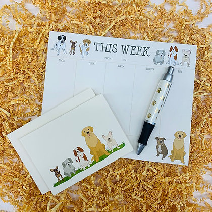 Dogs Weekly Pad & Folded Note Set